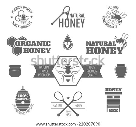 Bee honey premium quality products black label set isolated vector illustration - stock vector