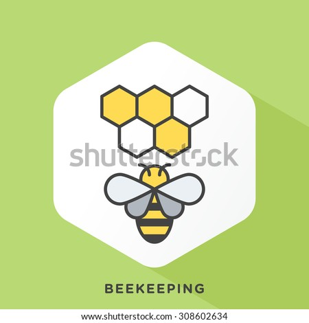 Bee icon with dark grey outline and offset flat colors. Modern style minimalistic vector illustration for basic beekeeping, supplies, plans and Ideas. - stock vector
