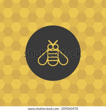 Bee icon, with honeycomb background. Bumblebee symbol. Honey theme concept. Stylized design elements, for poster, flyer, cover, brochure.  Easy to edit. Vector illustration - EPS10. - stock vector