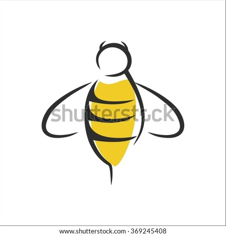 Bee line art - stock vector