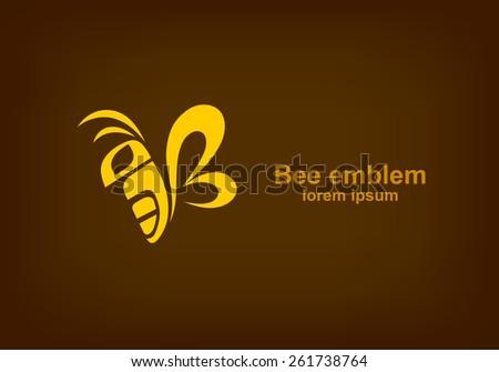 Bee logotype design template, Stylized business logo idea, Vector illustration Eps 10 - stock vector