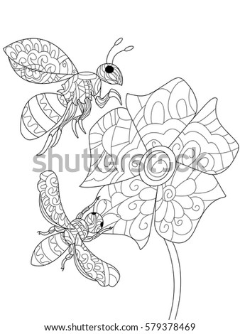 Bee On A Flower Animal Coloring Book For Adults Vector Illustration Anti Stress