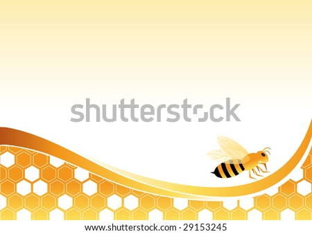 Bee on honey cells vector illustration. All elements are on separate layers and can be easily edited. - stock vector