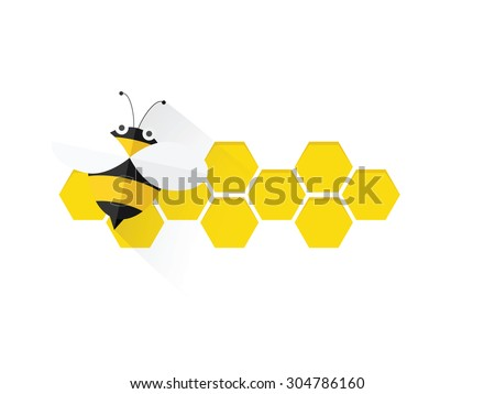 bee on honey comb - stock vector