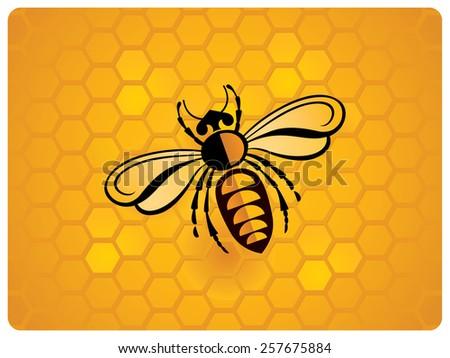 Bee, schematic illustration.  - stock vector