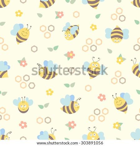 Bee Seamless Pattern With Honeycomb And Flowers Vector Flat Design In Vintage Colors