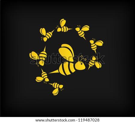 Bee (vector) - stock vector