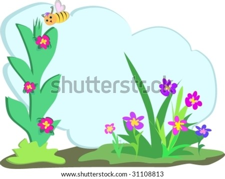 Bee with Floral Text Cloud Vector