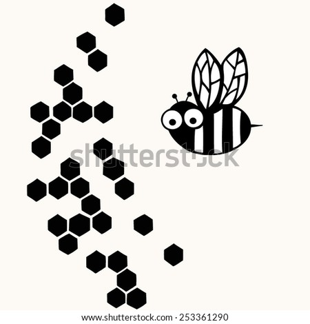 Bee with hexagon honeycomb background. Black and white illustration - stock vector