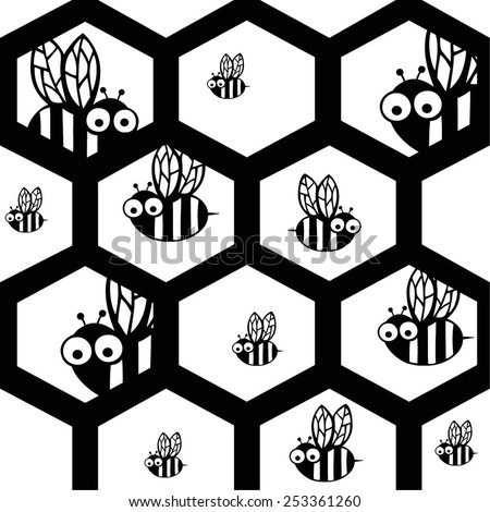 Bee with hexagon honeycomb background.Black and white illustration. Seamless pattern. - stock vector