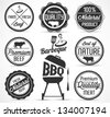 Beef and Barbecue Badges and Labels in Vintage Style - stock vector