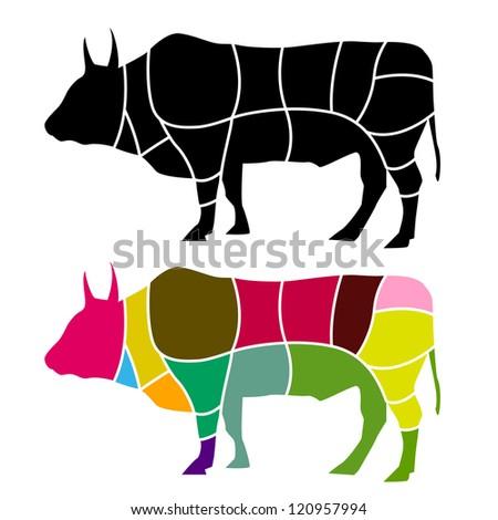 Beef cut - stock vector