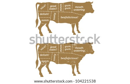 Beef Cuts Butcher's Chart Barbecue Illustration. Includes clean and grunge versions. - stock vector