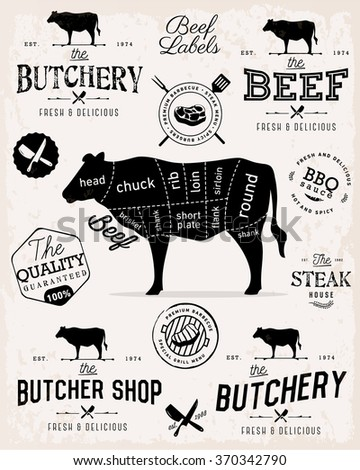 Beef Cuts Diagram and Butchery Design Elements in Vintage Style - stock vector