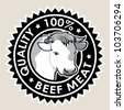 Beef Meat Quality 100% Seal - stock vector