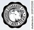 Beef Steak, Freshness Guarantee Seal - stock vector