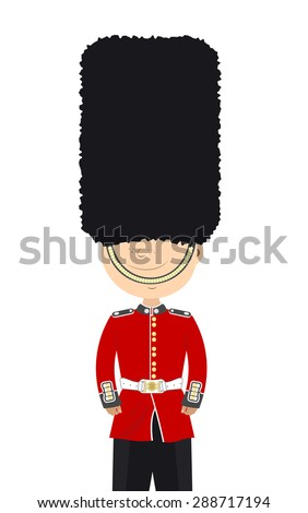 Beefeater English soldier stands alone on a white background - stock vector