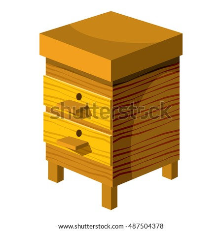 Beehive icon in cartoon style isolated on white background. Bee house symbol vector illustration