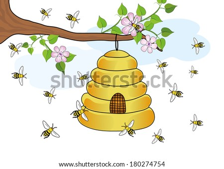 Beehive on tree with flowers and flying honey bees - stock vector