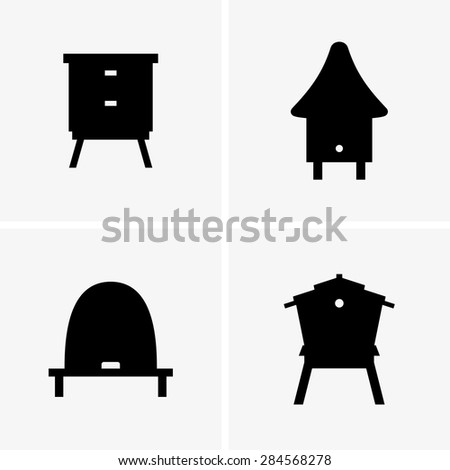 Beehives - stock vector