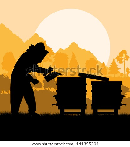 Beekeeper working in apiary vector background - stock vector