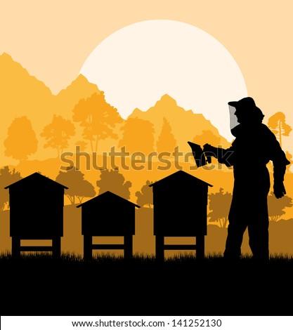 Beekeeper working in his apiary vector background - stock vector