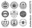 Beer and brewery set of vector retro style black and white labels, emblems, badges and logos isolated on white background