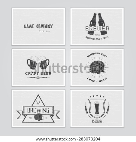 Beer and brewing set. Brewing typographic labels, logos and badges. Flat vector illustration - stock vector