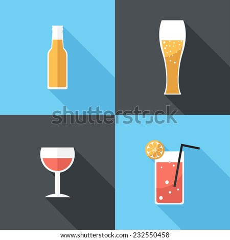 Beer and cocktail  icons. Flat design style modern vector illustration. Isolated on stylish color background. Flat long shadow icon. Elements in flat design.