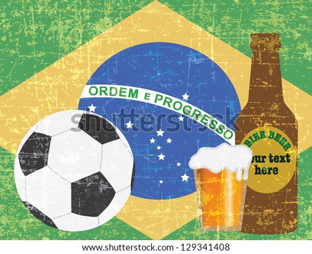 beer and football items on BRAZIL flag background vector - stock vector