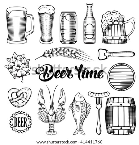 Beer and Snack design elements set in Outline Hand Drawn Doodle Style. Black, monochrome. Isolated on white background. Vector Illustration.  - stock vector