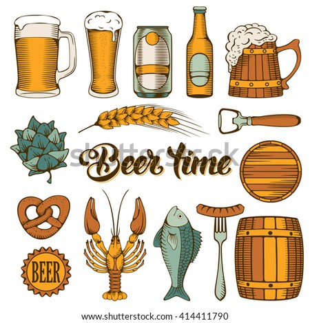Beer and Snack design elements set in Outline Hand Drawn Doodle Style. Colorful. Isolated on white background. Vector Illustration.  - stock vector