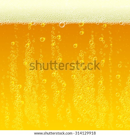 Beer background texture with foam and bubbles - stock vector