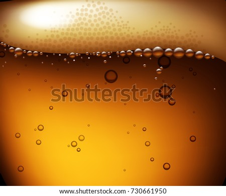 Beer background with a light beer with bubbles and foam. Highly realistic illustration with the effect of transparency.