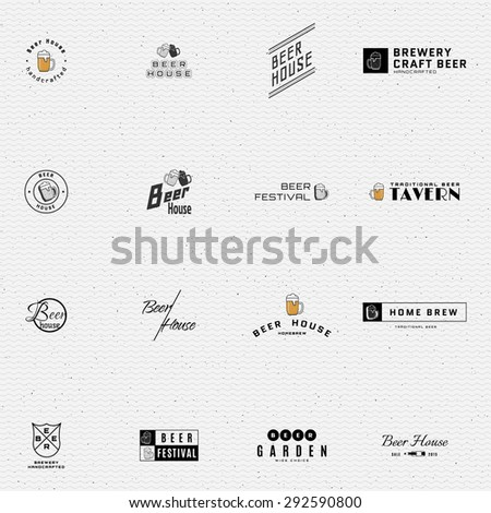 Beer badges logos and labels for any use, logo templates and design elements for beer house, bar, pub, brewing company, brewery, tavern, restaurant. - stock vector