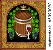 beer banner barrel advertising wine - stock vector