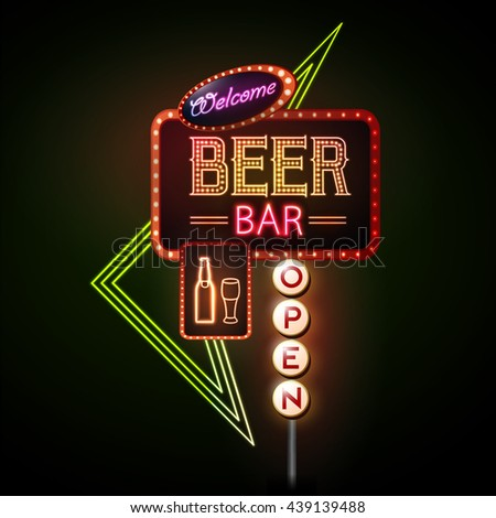 Fast Food Neon Sign Stock Vector Shutterstock #0: stock vector beer bar neon sign