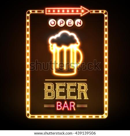 Beer Bar Neon Sign Stock Vector Shutterstock #2: stock vector beer bar neon sign