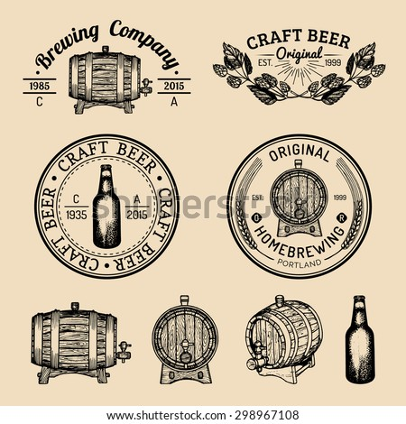 Beer barrel, bottle.Old brewery.Beer labels.Brewery sketch. Beer bar. Brewery background. Craft beer. Beer  illustration.Vector vintage brewery logo. Retro logotype with beer. Brewery sign. Beer icon. - stock vector