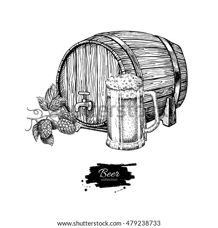 Beer barrel with hop and glass mug. Sketch style vector illustration. Hand drawn isolated beverage object on white background. Alcoholic drink drawing. Great for restaurant, bar, pub menu, oktoberfest