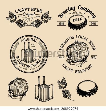 Beer bottle. Beer glass. Beer mug. Beer barrel. Hand drawing vector sketch of brewery. Brewery background. Craft beer. Vector set of vintage brewery logo. Retro logotypes collection of beer elements. - stock vector