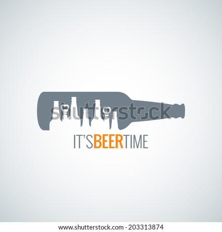 beer bottle city concept design background - stock vector