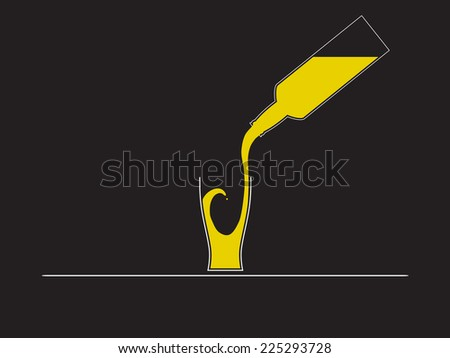 beer bottle glass - stock vector