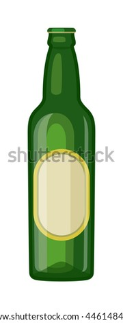 Beer bottle on white background and vector beer bottle. Beer glass bottle beverage liquid cold and pub lager beer bottle. Bottle fresh dark cold beer and glass full delicious beer. - stock vector