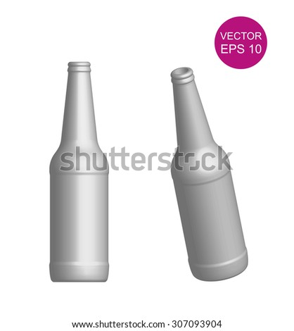 Beer bottle template. 3D. Vector Illustration. Different angles. - stock vector