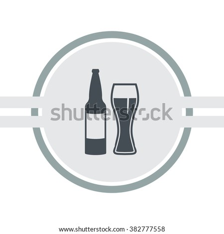 Beer bottle with glass vector icon.