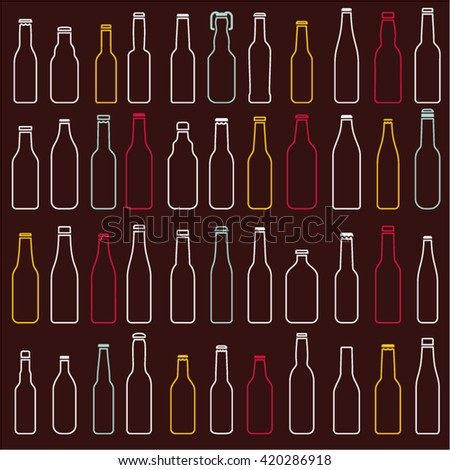 Beer bottles vector collection, different vector forms, line bottles icons