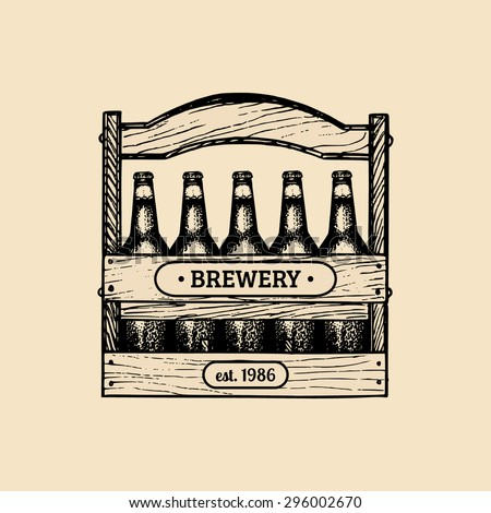 Beer box. Old brewery. Brewery sketch. Beer bar. Craft beer. Beer  illustration. Vector set of vintage brewery logo. Retro logotypes collection with beer elements. Brewery signs. Beer icons set. - stock vector