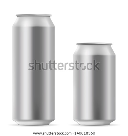 Beer can 500 and 330 ml. EPS-10 - stock vector
