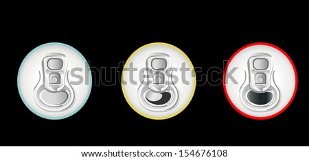 beer cans isolated top view - stock vector